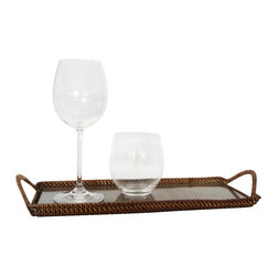 Calaisio - Rectangular Cocktail Tray with Glass Inset - This platter is the perfect size for serving hors d'oeuvres or to use as a bar tray. Beautiful as well as durable and versatile, this tray will last you a lifetime!