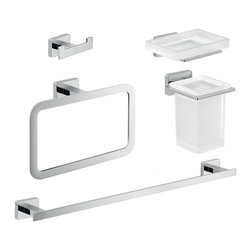 Gedy - Chrome Brass and Frosted Glass Bathroom Accessory Set - .