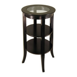 Winsome Wood - Genoa Accent Table & Inset Glass, 2 Shelves - Our Genoa Accent Table & Inset Glass is elegantly design with glass top. This round side table is flared leg, two shelf blends well with any style of room decor.
