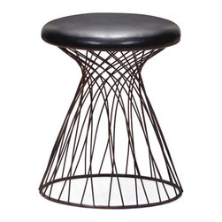 ZUO - Spike Stool - A whirling tornado of rustic black metal wire marks the clever Spike Stool. A black leatherette cushion adds comfort while the wide base adds stability. A perfect stool for a music studio.