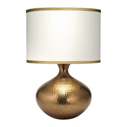 """Jamie Young Company - Jamie Young Taza Antique Brass Table Lamp - Striking and bold this hammered metal table lamp adds instant style to any space. Finished in a shining antique brass and topped with a cream silk shade with a golden beige silk trim. From the Taza Collection by the Jamie Young Company. Antique brass finish. Glass construction. Cream silk shade with golden beige silk trim. Maximum 150 watt or equivalent bulb (not included). Three-way rotary switch. 25"""" high. Shade is 16 1/2"""" across the top and bottom 11 1/2"""" high. Base is 5 3/4"""" wide.        Antique brass finish.  Glass construction.  Cream silk shade with golden beige silk trim.  Maximum 150 watt or equivalent bulb (not included).  Three-way rotary switch.  25"""" high.  Shade is 16 1/2"""" across the top and bottom 11 1/2"""" high.  Base is 5 3/4"""" wide."""