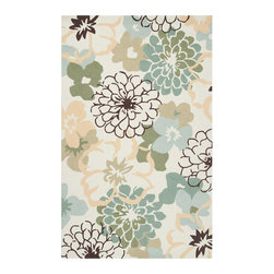 "Surya - Surya Brentwood BNT-7692 (Winter White, Pale Green) 3'6"" x 5'6"" Rug - The Brentwood Collection features a hand hooked construction of 100% polyester. Made in China, these rugs range in design motifs from transitional to contemporary and are woven to inspire your decor."