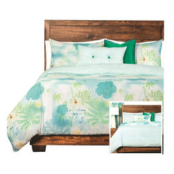 SIS Covers - SIS Covers Cubana Duvet Set - 6 Piece California King Duvet Set - 5 Piece Twin Duvet Set Duvet 67x88, 1 Std Sham 26x20, 1 16x16 dec pillow, 1 26x14 dec pillow. 6 Piece Full Duvet Set Duvet 86x88, 2 Std Shams 26x20, 1 16x16 dec pillow, 1 26x14 dec pillow. 6 Piece Queen Duvet Set Duvet 94x98, 2 Qn Shams 30x20, 1 16x16 dec pillow, 1 26x14 dec pillow. 6 Piece California King Duvet Set Duvet 104x100, 2 Kg Shams 36x20, 1 16x16 dec pillow, 1 26x14 dec pillow6 Piece King Duvet Set Duvet 104x98, 2 Kg Shams 36x20, 1 16x16 dec pillow, 1 26x14 dec pillow. Fabric Content 1 100 Polyester, Fabric Content 2 100 Polyester, Fabric Content 3 100 Polyester. Guarantee Workmanship and materials for the life of the product. SIScovers cannot be responsible for normal fabric wear, sun damage, or damage caused by misuse. Care instructions Machine Wash. Features Reversible Duvet and Shams.