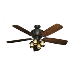 "Product Ideas - Centurion Tropical Ceiling Fan in Weatherd Brick with 60"" Hand Carved Arbor Blades in Dark Walnut and Light"