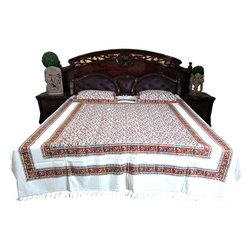 Mogul Interior - White Kalamkari Indian Inspired Bedding Cotton Tapestry Bed Cover - Handloom Cotton