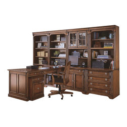 """Hooker Furniture - Brookhaven Open Hutch - White glove, in-home delivery included!  Hutch only. (Shown with Brookhaven modular wall system on the end on top of the Lateral File.) Highly Distressed Medium Clear Cherry Finish.  Hutch will fit on top of the Brookhaven Computer Desk, across the end of the Brookhaven Peninsula Desk, and on the Brookhaven Lateral File. Two adjustable shelves, one stationary shelf, cut-out in back rail for wires.  Stained top.  Monitor area: 22 1/4"""" h"""