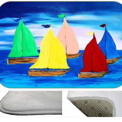 Sailing Plush Bth Mat, 20X15 - Bath mats from my original art and designs. Super soft plush fabric with a non skid backing. Eco friendly water base dyes that will not fade or alter the texture of the fabric. Washable 100 % polyester and mold resistant. Great for the bath room or anywhere in the home. At 1/2 inch thick our mats are softer and more plush than the typical comfort mats.Your toes will love you.