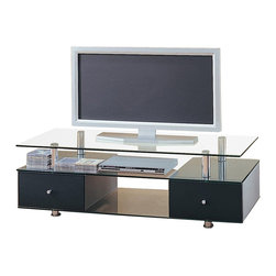 Coaster - Coaster Contemporary Glass TV Stand with Drawers - Coaster - TV Stands - 720081 - Choose from a variety of TV stands to fit your needs and complement your home decor! With many different styles finishes and sizes available you are sure to find an option that you love. With plentiful media storage options and entertainment solutions these media console will keep your family and friends happily entertained for hours without compromising the style of your living room or family room. This TV unit will add a fresh look to your contemporary living room ensemble. The sleek piece has a generously sized glass top to hold your television supported by shiny silver tone metal cylinders for a modern style that you will love. A spacious glass shelf below is ideal for electronic components while two lower drawers will keep clutter hidden great for movies gaming consoles and other media items. black drawer fronts and simple metal knobs create a simple contemporary style. A center glass compartment offers additional space above sleek metal feet. Add this TV stand to your home for the perfect contemporary look.