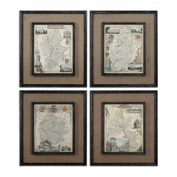 Uttermost - Uttermost Countryside Maps Wall Art Set/4 - 55002 - Uttermost Countryside Maps Wall Art Set/4 - 55002