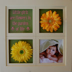 MyBarnwoodFrames - Collage Frames Wood Frame with Ivory 8x8 Openings - Little  Girls  are  Flowers  in  the  Garden  of  Life,  and  this  adorable  windowpane  frame  can  be  customized  to  match  any  little  girl's  room.  Frame  includes  custom  vinyl  lettering  in  pink.  Hand  distressed  edges.          We  have  removed  the  glass  from  2  openings  on  this  frame  and  added  silk  flowers  to  give  you  inspiration  for  your  own  display.  We've  also  backed  each  of  the  openings  with  colorful  scrapbook  paper,  but  you  can  customize  your  frame  any  way  you  want  it,  including  changing  the  background  color.  We'll  include  white  cardboard  backing  behind  each  opening.  One  glass  sheet  includes  vinyl  lettering  and  is  removeable  so  you  can  place  it  in  any  of  the  four  openings.          Please  note:  Silk  flowers,  photo,  and  colored  backings  are  for  display  only  and  are  not  included  with  your  order.
