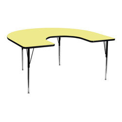 Flash Furniture - Flash Furniture 60 x 66 Horseshoe Activity Table with Yellow Laminate Top - Flash furniture's XU-A6066-HRSE-YEL-T-A-GG warp resistant thermal fused laminate horseshoe activity table features a 1.125'' top and a thermal fused laminate work surface. This horseshoe shaped laminate activity table provides a durable work surface that is versatile enough for everything from computers to projects or group lessons. Sturdy steel legs adjust from 21.125'' - 30.125'' high and have a brilliant chrome finish. The 1.125'' thick particle board top also incorporates a protective underside backing sheet to prevent moisture absorption and warping. T-mold edge banding provides a durable and attractive edging enhancement that is certain to withstand the rigors of any classroom environment. Glides prevent wobbling and will keep your work surface level. This model is featured in a beautiful yellow finish that will enhance the beauty of any school setting. [XU-A6066-HRSE-YEL-T-A-GG]