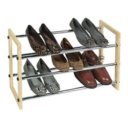 Richards Homewares - Stackable Chrome Shoe Rack, 3-Tier - 3 Tier Chrome Expandable-Stackable Shoe Rack. No tools required assembly. Natural wood finish with shiny chrome rods.