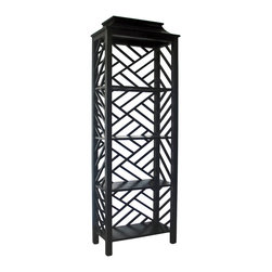 Kathy Kuo Home - Yates Hollywood Regency Black Fretwork Pagoda Style Bookcase Shelf - Topped with a pagoda-style roof and wrapped in geometric fretwork, our black mahogany bookcase beautifully blurs the lines between au courant cosmopolitan and ancient Far East design. A feast to the eye, four spacious shelves make this accent shelving unit a practical dream that defines open concept rooms while showcasing your finest collections.