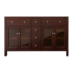 Avanity Corporation - Lexington 60 in. Double Sink Vanity in Light - Vanity only in Light Espresso finish. Birch solid wood and veneer . Brushed nickel finished hardware. 4 Soft-close doors . 2 adjustable shelves. 3 Soft-close drawers. Adjustable height levelers . Top and faucet not included. 60 in. W x 21 in. D x 34 in. HThe Lexington 60 in. vanity in light espresso is a beautiful combination of modern and traditional design. Constructed of solid birch wood and birch veneers, tinted glass doors, brushed nickel hardware, soft-close drawer guides and hinges. The coordinating mirror adds to the set and completes this collection.