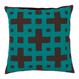 Surya Rugs - Coffee Bean and Dark Turquoise Polyester Filled 22 x 22  Pillow - - Add style and sophistication to any room with this modern pillow accented with coffee bean and dark turquoise. This pillow has a polyester fill and zipper closure. Made in India with one hundred percent cotton this pillow is durable and priced right  - Cleaning/Care: Blot. Dry Clean  - Filled Material: Polyester Filler Surya Rugs - AR083-2222P