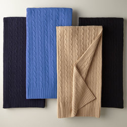 """Ralph Lauren - Cashmere Cable-Knit Blanket - MIDNIGHT BLACK - Ralph LaurenCashmere Cable-Knit BlanketDetailsA luxurious cashmere blanket with cable-knit pattern in Polo Navy French Blue Burnished Chamois or Midnight Black.From Ralph Lauren.Made of cashmere.Ribbed edges. Approximately 60"""" x 60"""".Select color when ordering.Dry clean.Imported. Designer About Ralph Lauren:American designer Ralph Lauren debuted his brand in 1968 with ties and menswear and over the years his vision expanded to encompass women's ready-to-wear shoes accessories and children's clothes just to name a few. Classic and timeless are the watch words of Ralph Lauren whether it be designs from Black Label Blue Label Ralph Lauren Collection or RLX by Ralph Lauren."""