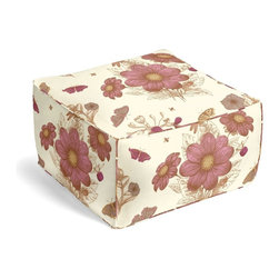 Pink Sketched Floral Print Square Pouf - The Square Pouf is the hottest thing in decor since the sectional sofa. This bean bag meets Moroccan style ottoman does triple duty as a comfy extra seat, fashion-forward footstool, or part-time occasional table.  We love it in this pink & brown feminine floral that evokes traditional hand sketched botanical drawings.