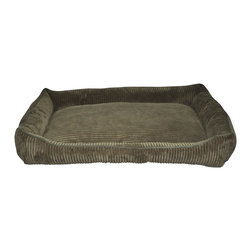 Loom and Mill - Loom and Mill DB0014 Dark Green Corduroy Walled Pet Bed - Help your pet get extra cozy in this over-stuffed large walled dog bed. Made with the highest of quality fabric, this pet bed is velvety soft and over-stuffed for extra comfort. Your large pet will love this fabulous animal bed. Spot clean only.