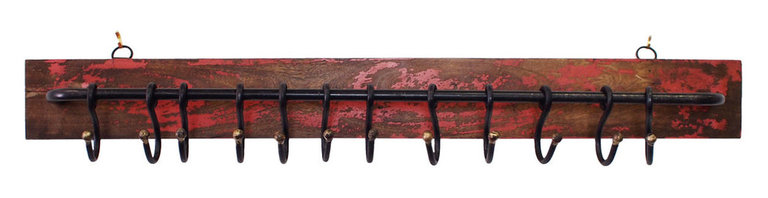 Wood and Iron Hanging Coat Rail - Red - These wonderfully rustic hanging coat rails are perfect for entryways. Each are hand distressed for that one-of-a-kind look.