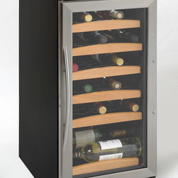 "Avanti - 30 bottle wine cooler with electronic display - Built-In or Free Standing Installation, One Touch Digital Control for Red, White, or Sparkling Wine, One Touch Dual Function Electronic Display for Monitoring Temperature (C/F�), Holds up to 30 Bottles, Auto Defrost, Soft Interior LED Lighting with ON/OFF Switch, Slide-Out Shelves, Reversible Tempered Double Pane Glass Door with Stainless Steel Trim, Removable Stainless Steel Handle, Interior Fan, Security Lock, 33.75"" H x 15"" W x 25"" D (w/Handle)"