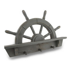 Zeckos - Distressed Finish Ship's Wheel 3 Wall Hooks Wooden - This wonderful wooden ship's wheel 3 peg mug or coat rack has a distressed gray enamel The rack measures 11 inches tall, 16 1/2 inches wide and 2 inches deep. It has a trio of hook pegs for hanging scarves, jewelry and coats. It makes a great gift.
