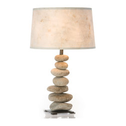 Rock Table Lamp - The seven-rock lamp is great for the living room, den, or a modern bedside table. Natural and neutral, with handmade paper shade, this lamp is timeless and goes with almost every décor.