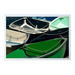 "Pre-owned Geoffrey Baris ""Rush Hour"" Framed Photo Print - Let your imagination float away with this a bunch of boats! Vibrant and abstract, this piece is framed in a contemporary shadow box with a full bleed photograph. All materials used are 100% archival museum grade."