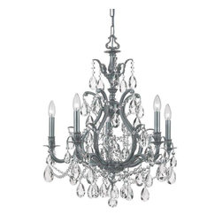 Crystorama Lighting - Crystorama Lighting 5575-PW-CL-MWP Dawson Traditional Chandelier in Pewter - Crystorama Lighting 5575-PW-CL-MWP Dawson Traditional Chandelier In Pewter With Clear Hand Cut Crystal