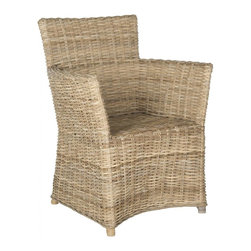 Safavieh - Natuna Arm Chair - Crafted of Kubu grey rattan which is coveted for its natural soft grey color, the Natuna arm chair is easy and breezy year round. With its artfully woven sculptural lines, this transitional chair is chic and comfortable in the family room or dining room.