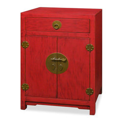 "China Furniture and Arts - Elmwood Ming Cabinet - A reproduction of a dowry trunk, this Ming Dynasty (1368-1644) style chest provides convenient and accessible storage for blankets, linens, or sweaters. Handcrafted of Elmwood with a hand-rubbed vibrant red lacquer finish, it has one drawer and a center compartment measuring 23""W x 13""D x 21""H with a removable shelf inside. The drawer interior measures 19.75""W x 12.5""D x 3.75""H. The cast-brass pull, and the center round plate make this chest seemingly simple and yet handsome. Fully assembled."