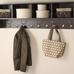 Prepac - 60 in. Hanging Entryway Shelf - Suitable for any front hallway, foyer or mudroom. Four compartments provide ample storage. Fill with baskets, gloves, mittens, hats and books. Five large and four small hooks to hang jackets, coats, hoodies, sweaters, bags and purses. Easy to install with two-piece hanging rail system. Weight capacity: 60 lbs.. Warranty: Five years. Made from CARB-compliant, laminated composite woods. Espresso finish. Made in North America. Cubbie: 13.5 in. W x 10 in. D x 8.75 in. H. Overall: 60 in. W x 11.5 in. D x 16.5 in. HIdeal for an ever expanding household, the hanging entryway shelf will keep your entryway belongings together in one place!