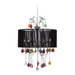 """Possini Euro Design - Possini Euro Adora 22"""" Wide Colored Crystal Pendant Light - From the Possini Euro Design lighting collection comes this fun pendant chandelier. With a sheer black shade and hanging multicolored crystal accents for a distinctive and enchanting look. Hang this fixture in living rooms entryways and bedrooms for a pop of color and style. Chrome finish. Black sheer shade. Multicolored crystal accents. Takes five 60 watt candelabra bulbs (not included). Includes 10 feet cord 8 feet of chain. 22"""" wide. 30"""" high. Shade is 22"""" across  top and bottom 9 3/4"""" high. Chrome canopy is 5 1/8"""" wide. Hang weight is 14 1/2 lbs.  Chrome finish.  Black sheer shade.  Multicolored crystal accents.  Takes five 60 watt candelabra bulbs (not included).  Includes 10 feet cord 8 feet of chain.  22"""" wide.  30"""" high.  Shade is 22"""" across  top and bottom 9 3/4"""" high.  Chrome canopy is 5 1/8"""" wide.  Hang weight is 14 1/2 lbs."""