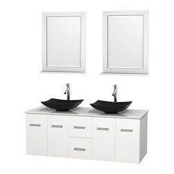 """Wyndham Collection - Centra 60"""" White Double Vanity, White Man-Made Stone Top, Black Granite Sinks - Simplicity and elegance combine in the perfect lines of the Centra vanity by the Wyndham Collection. If cutting-edge contemporary design is your style then the Centra vanity is for you - modern, chic and built to last a lifetime. Available with green glass, pure white man-made stone, ivory marble or white carrera marble counters, with stunning vessel or undermount sink(s) and matching mirror(s). Featuring soft close door hinges, drawer glides, and meticulously finished with brushed chrome hardware. The attention to detail on this beautiful vanity is second to none."""
