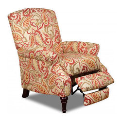 Simmons - Made to Order Simmons Upholstery Zinnia Red Hi-Leg Recliner - This Zinnia recliner by Simmons features a pretty paisley performance fabric covering a traditionally styled chair. Made in the USA,this durable recliner has three positions for your comfort.