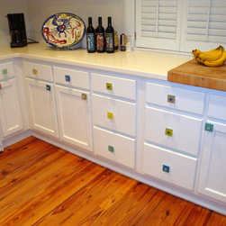 Beach Kitchen with Sea Glass Cabinet Pull Knob Hardware - Many colors available, made to order.