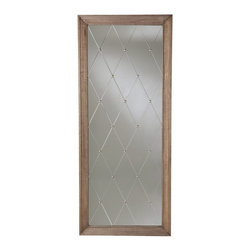 Arteriors - Diamonte Mirror - Etched diamonds and antique silver studs lend a captivating touch of elegance to this oversize mirror. Ideal for hanging, or just sitting on the floor and leaning against a wall, it adds a dash of drama and reflection that's tempered by its antiqued, weathered oak frame.