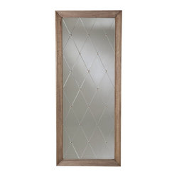 Arteriors - Diamonte Mirror By Arteriors - Etched diamonds and antique silver studs lend a captivating touch of elegance to this oversize mirror. Ideal for hanging, or just sitting on the floor and leaning against a wall, it adds a dash of drama and reflection that's tempered by its antiqued, weathered oak frame.