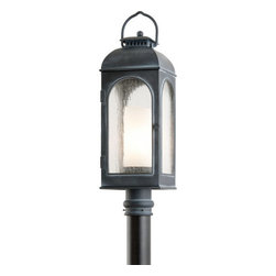 """Troy Lighting - Troy Lighting P3285 Derby 1 Light Post Light - Troy Lighting P3285 Derby 1 Light 26.25"""" High Outdoor Post LightWith a faux candle interior diffuser and antique style frame, the lights of the Derby Collection look like they might be found at a coach stop in England.Troy Lighting P3285 Features:"""