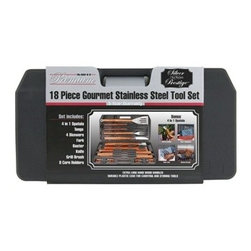 Mr Bar B Q - 18-Piece Tool Set - Mr. Bar-B-Q 18-piece Gourmet Stainless Steel Tool Set with wood handles includes a 4-in-1 spatula tongs fork knife basting brush grill brush 4 skewers 8 corn holders and plastic case; Extra long hard wood handles; Durable plastic case for carrying and storing tools. This item cannot be shipped to APO/FPO addresses. Please accept our apologies.