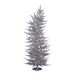 """Vickerman - Silver Laser Tree 150CL 1262T (6' x 26"""") - 6' x 26"""" Silver Laser Tree with 1262 PVC tips, 150 Clear Mini Lights. Includes metal hinged branch construction and metal stand"""