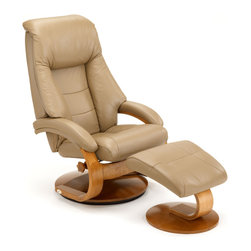 "Mac Motion - Mac Motion Oslo 58 Series Leather Swivel Recliner and Ottoman Set in Sand - Leather Swivel Recliner & Ottoman belongs to Oslo Collection Collection by Mac Motion This ""Oslo Collection"" model remains Norwegian Styling at it's best, with matching motion chair and ottoman. Features include 360 degree parameter swivel for stable setting and adjustable reclining back which is personalized by one single handle to any position. Matched to a contoured angle ottoman to complete the therapy seating of full body personalized comfort. All ""Oslo Collection"" models include ""MX-2"" memory foam, with 1"" over the top of solid cored foam seating for support and long lasting comfort. This model is covered in ""Top-Grain"" leather everywhere you touch, in a smooth ""Cobblestone"" color to match the warm ""Walnut"" wood frame finish. Complimented by the matching ottoman, this a number #1.  Chair (1), Ottoman (1)"