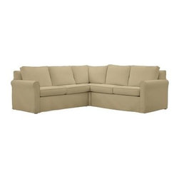 """Cameron Roll Arm Slipcovered 3-Piece L-Shaped Corner Sectional, Polyester Wrap C - Crafted by our master upholsterers in North Carolina, our Cameron Collection offers superb quality at an unparalleled price. Our sectional is built with eco-friendly materials and plush seat cushions for maximum comfort. 102"""" w x 102"""" d x 36"""" d x 35"""" h Polyester-wrapped cushions have a neat and tailored look. Proudly made in America, view video. For shipping and return information, click on the shipping info tab. When making your selection, see the Special Order fabrics. below. Please call 1.888.779.5176 to place your order for additional fabrics."""