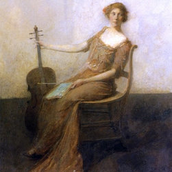 """Thomas Wilmer Dewing Young Woman with Violincello   Print - 18"""" x 24"""" Thomas Wilmer Dewing Young Woman with Violincello premium archival print reproduced to meet museum quality standards. Our museum quality archival prints are produced using high-precision print technology for a more accurate reproduction printed on high quality, heavyweight matte presentation paper with fade-resistant, archival inks. Our progressive business model allows us to offer works of art to you at the best wholesale pricing, significantly less than art gallery prices, affordable to all. This line of artwork is produced with extra white border space (if you choose to have it framed, for your framer to work with to frame properly or utilize a larger mat and/or frame).  We present a comprehensive collection of exceptional art reproductions byThomas Wilmer Dewing."""