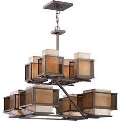 Matrix 8 Light Khaki Fabric Shade/ Smoke Plated Glass Chandelier | Overstock.com