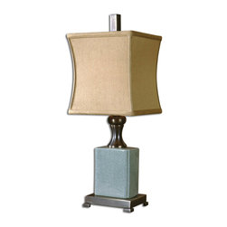 Uttermost - Bernadette Crackled Blue Buffet Lamp - This lamp features a pale blue crackled porcelain body with dark bronze metal accents. The square bell shade is a silken tan textile.