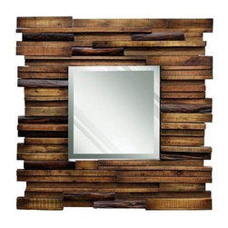 Reclaimed Slat Wood Mirror - Hang this reclaimed wood mirror in your entry to welcome guests to your home this holiday season. A wall sconce placed on either side of the mirror would provide a warm ambience.