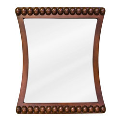 "Hardware Resources - Lyn Design Bathroom Mirror - Rosewood Beaded Mirror by Lyn Design 24"" x 28"" rosewood mirror with beaded accents and beveled glass. Corresponds with VAN035, VAN035-T"