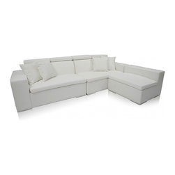 Modani - Monaco Sectional Leather Sofa, White - This Monaco Back Leather sofa is a modern refreshing twist to the already classic black leather sofa. It�۪s sleek look not only looks classy, but is comfy too. This stunning sofa provides a stunning look in ay living room. The extended head rest radiates sophistication.