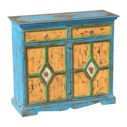 Sierra Living Concepts - Blue & Yellow Farmhouse Mango Wood Distressed Sideboard Buffet Cabinet - Add a burst of color and some old fashioned charm with our Distressed Farmhouse Buffet. The two cabinet doors have a diamond window pane design with a tiny flower set into a snow white background inside the diamond.