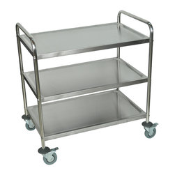 """Luxor - Luxor Stainless Steel Cart - ST-3 - Stainless steel 3 shelf cart constructed of 122 gauge steel. Retaining lip around each shelf. 4"""" Casters, two with locking brake. Wide enough for two bussing tubs, 200 lb weight capacity. 10 1/2"""" clearance between each shelf. Overall dimensions 33 1/2""""W x 21""""D x 37""""H."""